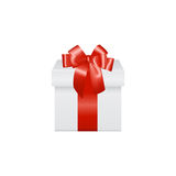 White gift box with red ribbon bow, isolated on Royalty Free Stock Image
