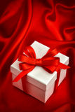 White gift box red ribbon bow. Valentines Day Stock Image
