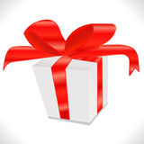 White gift box with red ribbon bow,  on white in vector Royalty Free Stock Photo