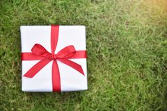 White gift box with red ribbon on green grass background. Royalty Free Stock Photography