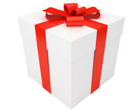 White gift box with red ribbon isolated Stock Photos
