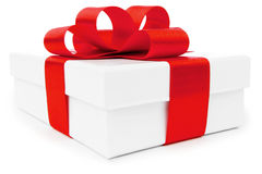 White gift box with red ribbon Royalty Free Stock Images