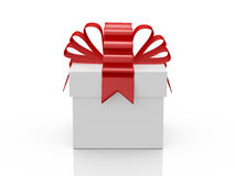 White Gift Box with Red Ribbon Stock Photography