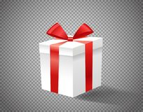 White gift box with red ribbon on transparent background vector. Illustration Royalty Free Stock Images