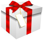 White gift box red ribbon Royalty Free Stock Photography