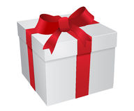White gift box with red ribbons Stock Photo