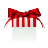 White gift box with red striped lid isolated Royalty Free Stock Photo
