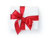 White gift box with ribbon bow from above Royalty Free Stock Photo