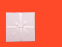 White gift box with ribbons Stock Photos