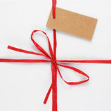 White gift box with tag Stock Images