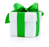 White gift box tied green ribbon Isolated on white background Royalty Free Stock Photography