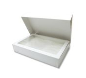 A white gift box with transparent inner lid Royalty Free Stock Image