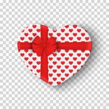 White gift box for Valentines Day. Heart box with a red pattern and a bow of ribbon. Isolated on a transparent background. Graphic. Element for your design Stock Images