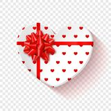 White gift box for Valentines Day. Heart box with red pattern and bow .  on a transparent background. Graphic. Element for your design. Vector illustration Royalty Free Stock Photos