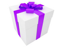 White gift box with violet ribbon Stock Photos