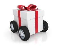 White gift box with wheels Stock Photo