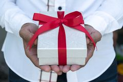 A white gift box. royalty free stock images