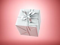 White gift box with white ribbon bow and blank business card, isolated on red, horizontal. 3d render Stock Photo