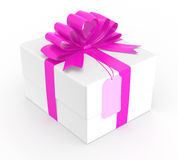 White gift box wrapped with pin bow.  Royalty Free Stock Images