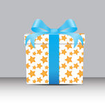White Gift box  with a yellow star pattern Royalty Free Stock Images