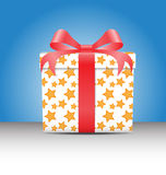 White Gift box with a yellow star pattern Stock Photo