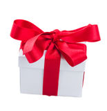 White gift boxe with red bow Royalty Free Stock Photo