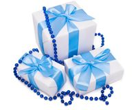 White gift boxes Royalty Free Stock Image