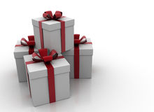 White gift boxes Stock Images