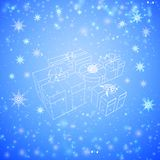 White gift boxes. Decorated with ribbon over snawfall background. Vector illustration Stock Image
