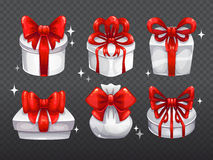 White gift boxes with big red bows Stock Photo