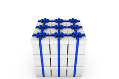 White gift boxes with blue ribbon bow. White gift boxes with ribbon bow isolated on white background, 3D render illustration Stock Photography