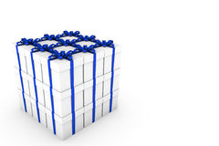 White gift boxes with blue ribbon bow. White gift boxes with ribbon bow isolated on white background, 3D render illustration Royalty Free Stock Images