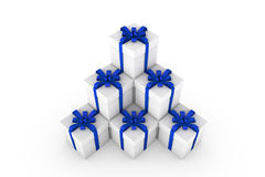 White gift boxes with blue ribbon bow. White gift boxes with ribbon bow isolated on white background, 3D render illustration Stock Images