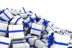 White gift boxes with blue ribbon bow. White gift boxes with ribbon bow isolated on white background, 3D render illustration Royalty Free Stock Photography