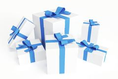 White gift boxes with blue ribbons Stock Photos