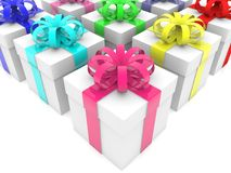 White gift boxes with colorful ribbons. In backgrounds Royalty Free Stock Photography
