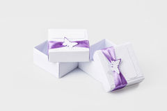 White gift boxes isolated on white Stock Photo