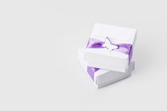 White gift boxes isolated on white Royalty Free Stock Images