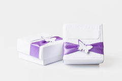 White gift boxes isolated on white Stock Photography