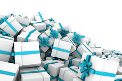 White gift boxes with light blue ribbon bow. White gift boxes with ribbon bow isolated on white background, 3D render illustration Royalty Free Stock Photography