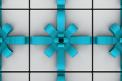 White gift boxes with light blue ribbon bow. White gift boxes with ribbon bow isolated on white background, 3D render illustration Royalty Free Stock Images