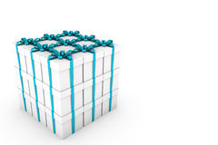White gift boxes with light blue ribbon bow. White gift boxes with ribbon bow isolated on white background, 3D render illustration Royalty Free Stock Photos