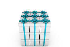 White gift boxes with light blue ribbon bow. White gift boxes with ribbon bow isolated on white background, 3D render illustration Stock Photo
