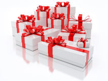 White Gift Boxes Over White Background 3d Illustration Royalty Free Stock Photos