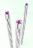 White gift boxes with purple ribbons. Great christmas holidays or birthday background Royalty Free Stock Photography