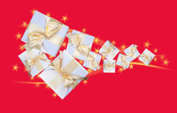 White gift boxes on red Stock Photography
