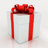 White gift boxes with red ribbon Royalty Free Stock Image