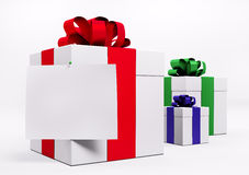 White gift boxes with red ribbon 3d Royalty Free Stock Photography