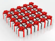 White gift boxes with red ribbon Stock Photo