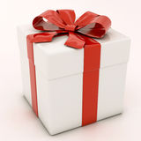 White gift boxes with red ribbon Royalty Free Stock Images